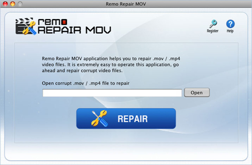 Repair MP4 file - Main Window