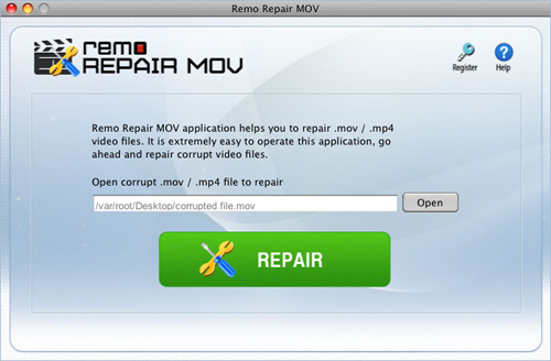 Repair MP4 file - File selection screen