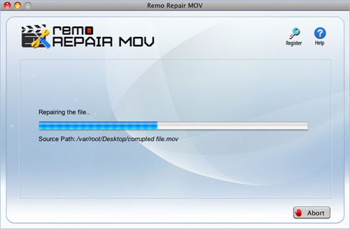 Repair MP4 file - Repair process screen shot