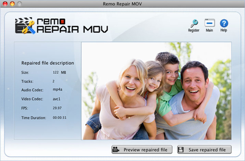 Repair MP4 file - Final screen shot